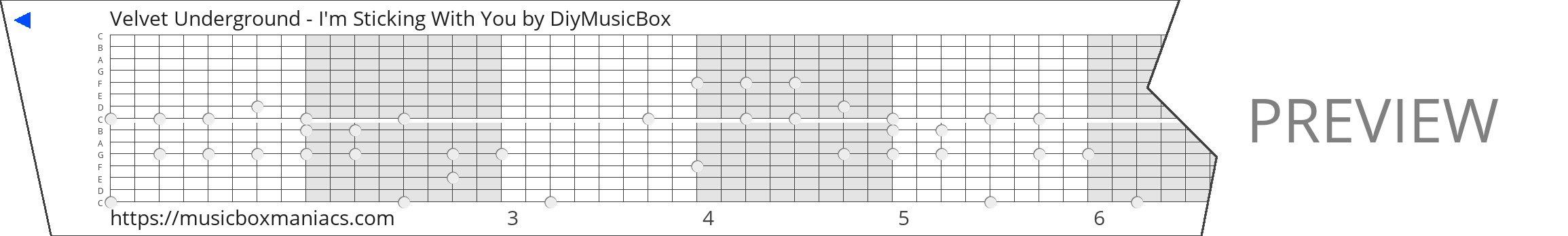 Velvet Underground - I'm Sticking With You 15 note music box paper strip