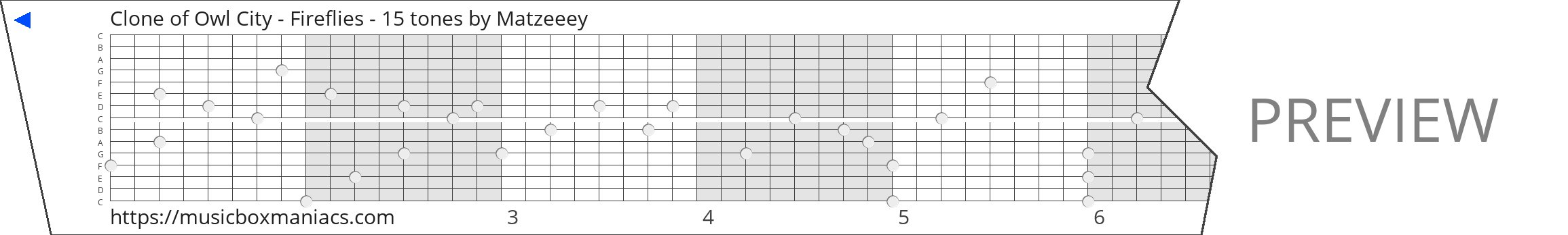 Clone of Owl City - Fireflies - 15 tones 15 note music box paper strip