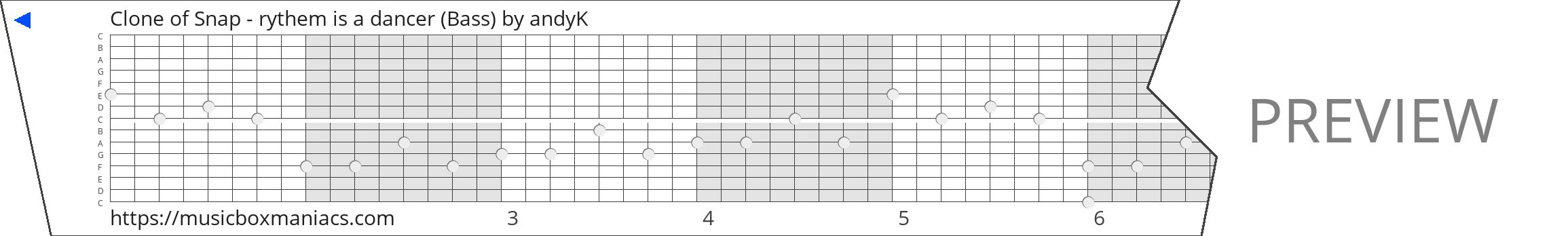Clone of Snap - rythem is a dancer (Bass) 15 note music box paper strip