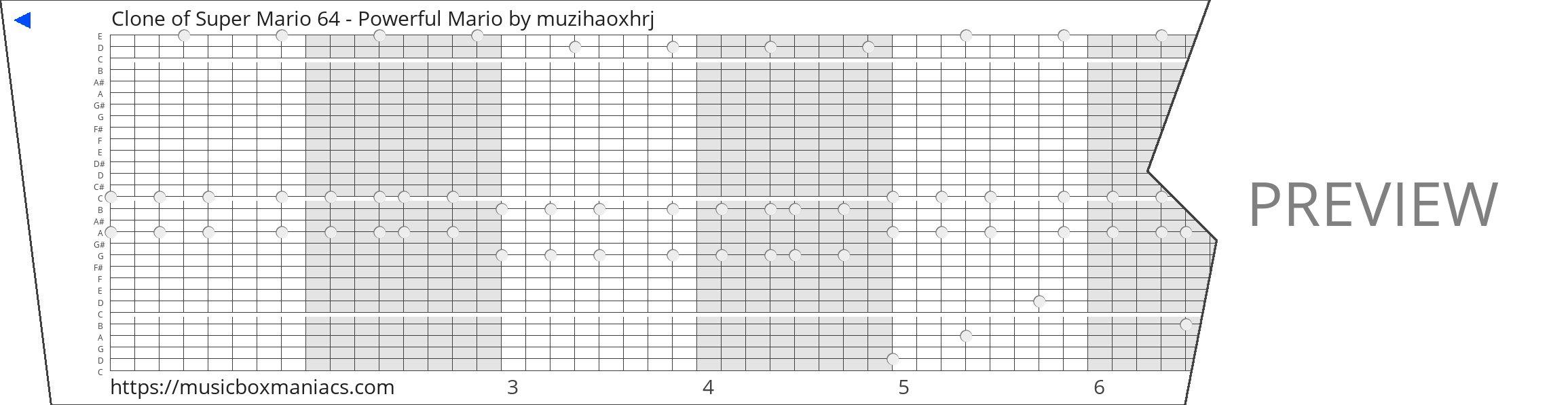 Clone of Super Mario 64 - Powerful Mario 30 note music box paper strip