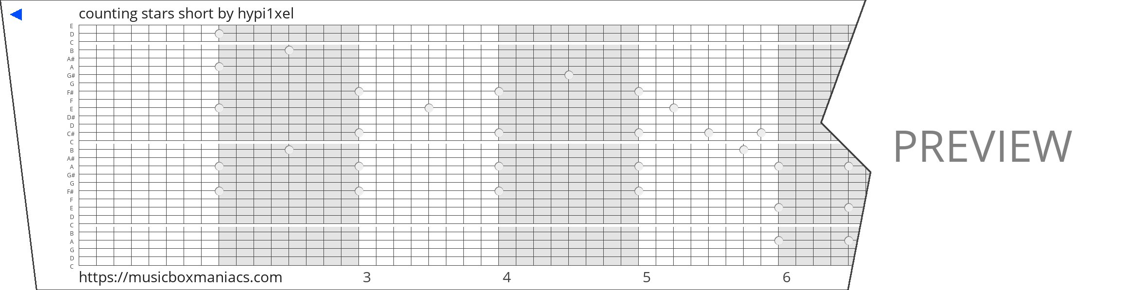 counting stars short 30 note music box paper strip