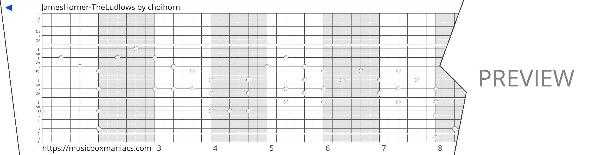 JamesHorner-TheLudlows 30 note music box paper strip