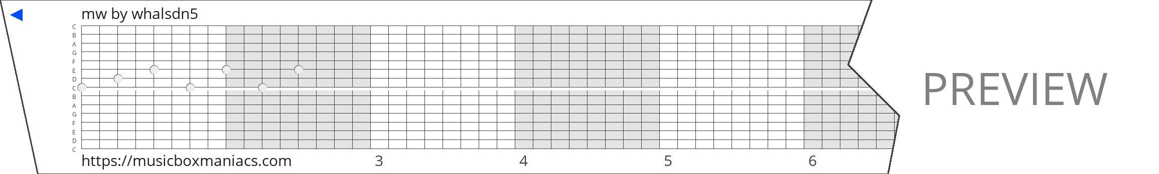 mw 15 note music box paper strip
