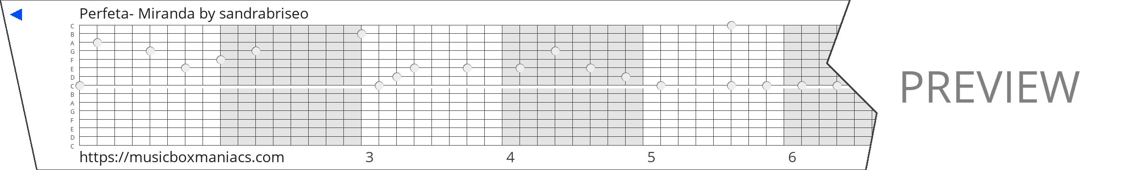 Perfeta- Miranda 15 note music box paper strip