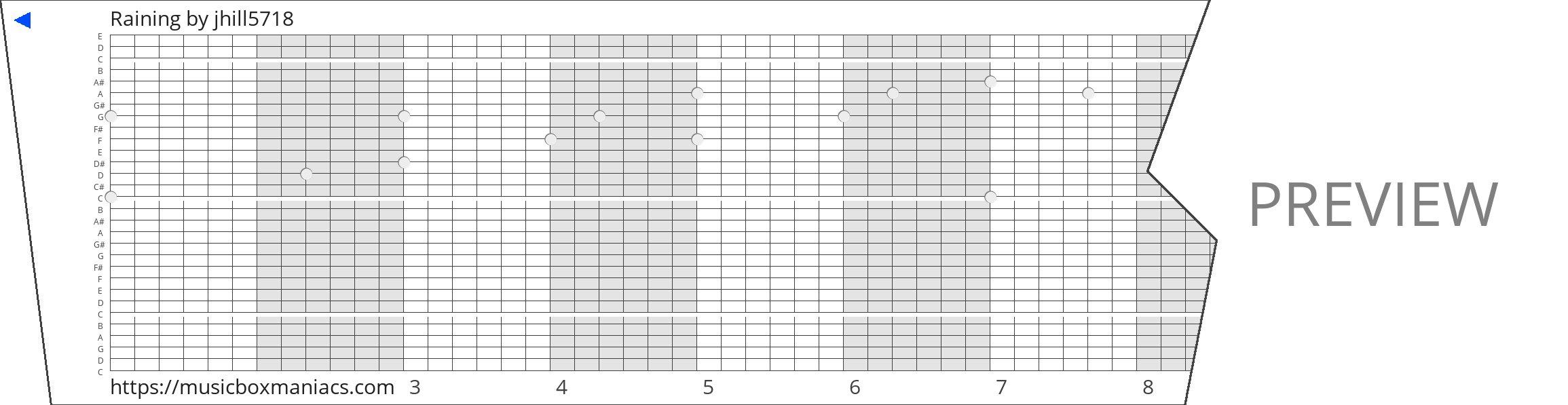 Raining 30 note music box paper strip