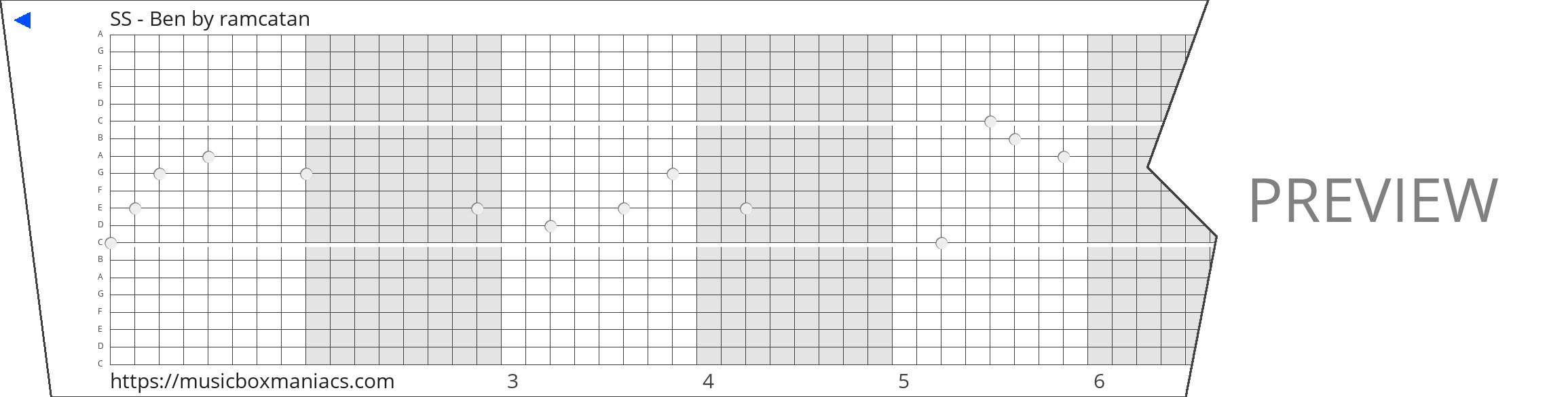 SS - Ben 20 note music box paper strip