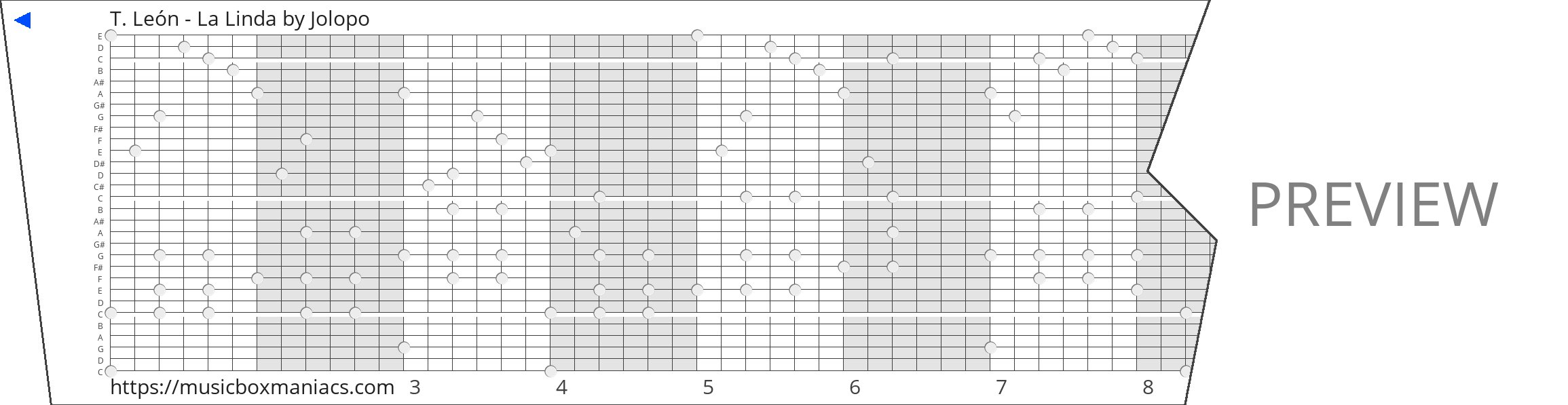 T. León - La Linda 30 note music box paper strip