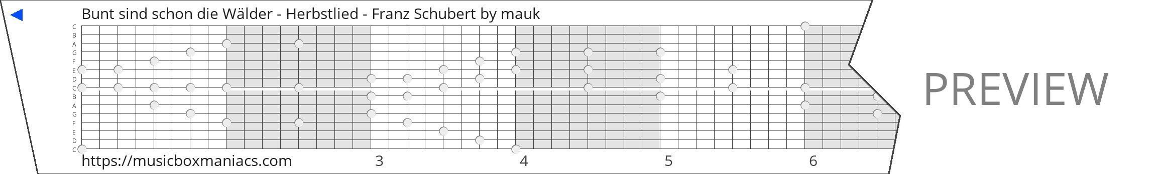 Bunt sind schon die Wälder - Herbstlied - Franz Schubert 15 note music box paper strip