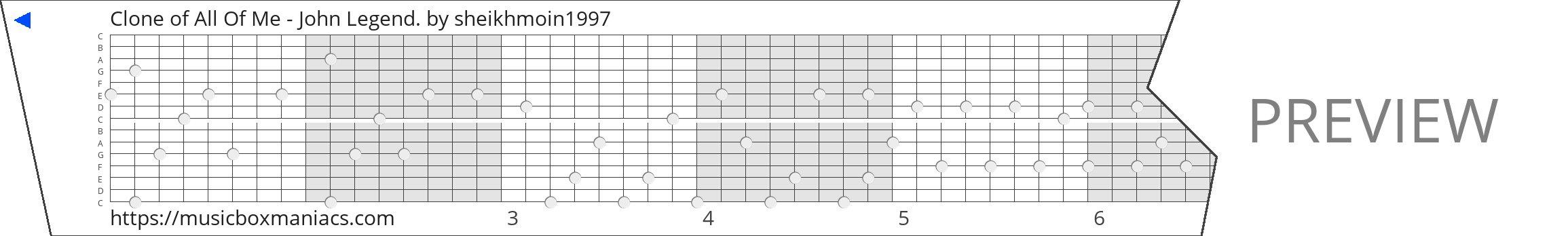 Clone of All Of Me - John Legend. 15 note music box paper strip