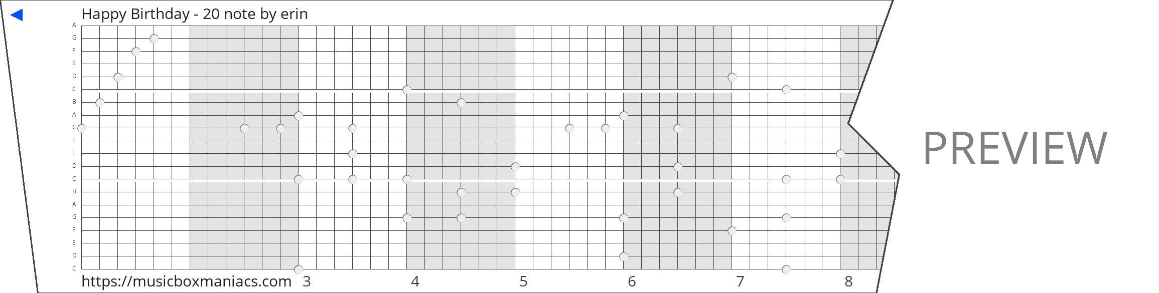 Happy Birthday - 20 note 20 note music box paper strip