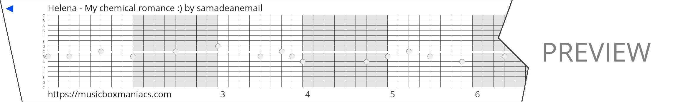 Helena - My chemical romance :) 15 note music box paper strip