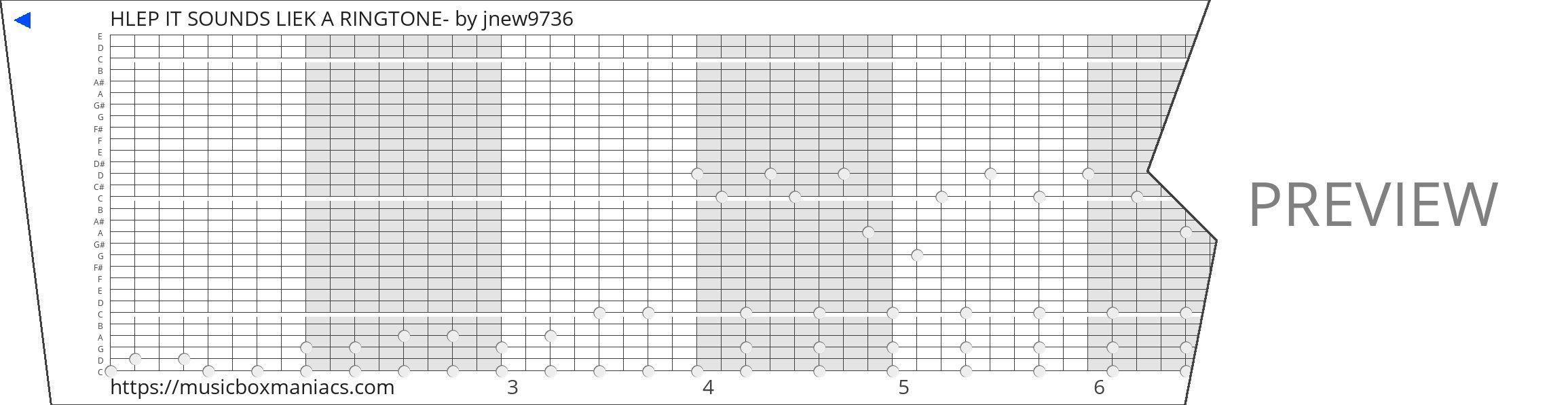 HLEP IT SOUNDS LIEK A RINGTONE- 30 note music box paper strip