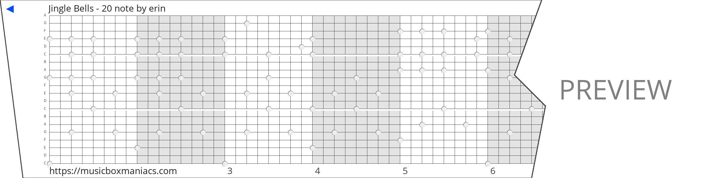 Jingle Bells - 20 note 20 note music box paper strip