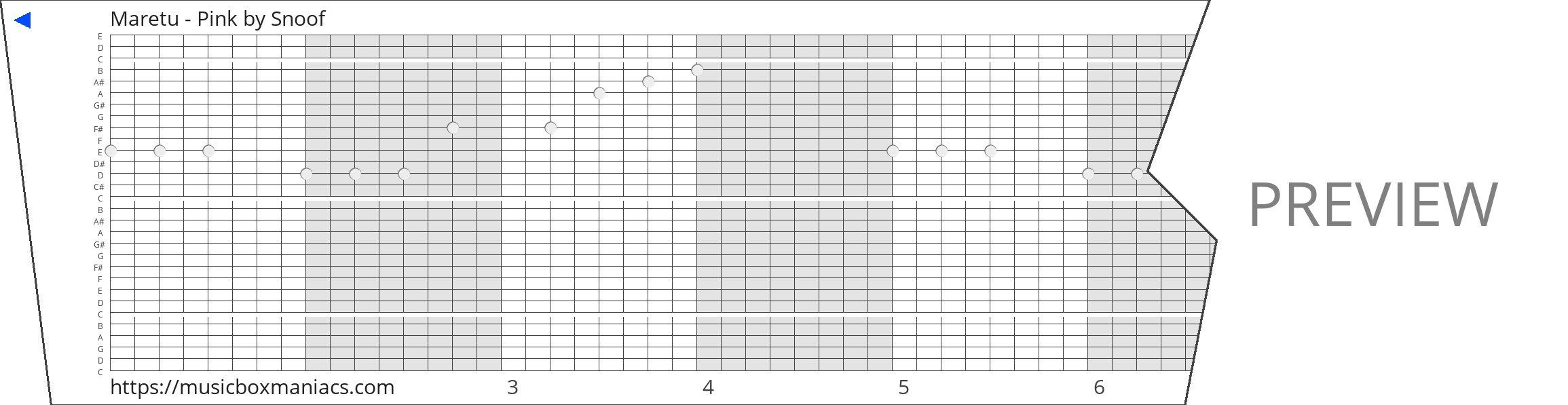 Maretu - Pink 30 note music box paper strip