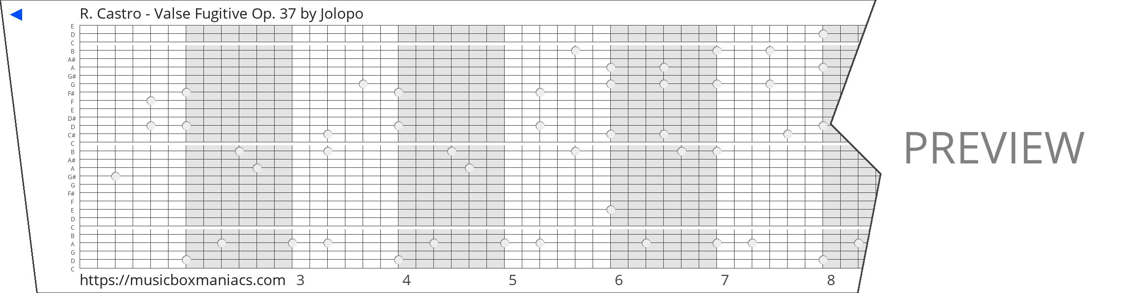R. Castro - Valse Fugitive Op. 37 30 note music box paper strip