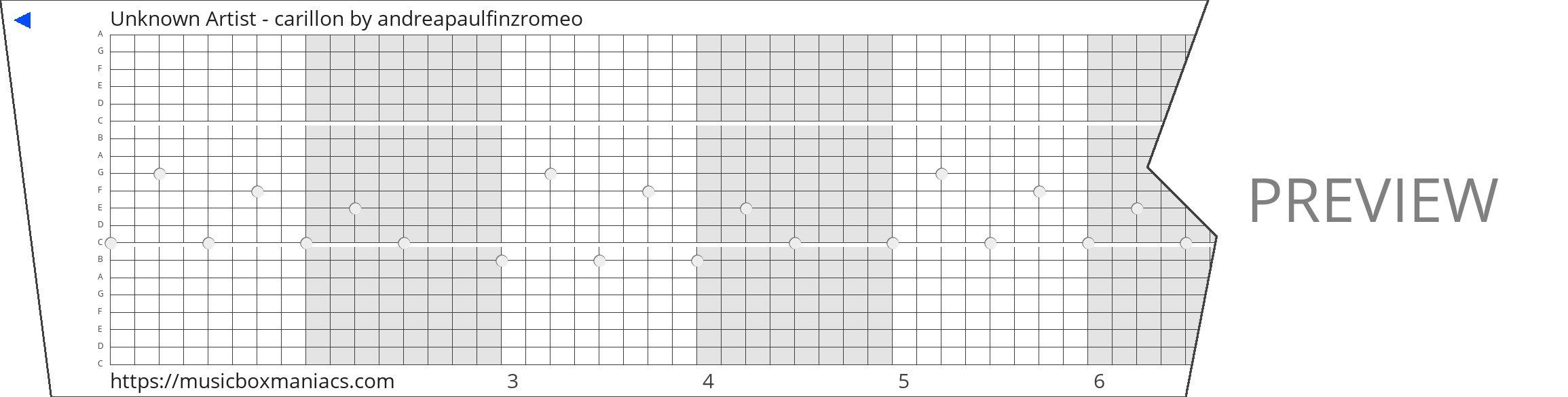 Unknown Artist - carillon 20 note music box paper strip