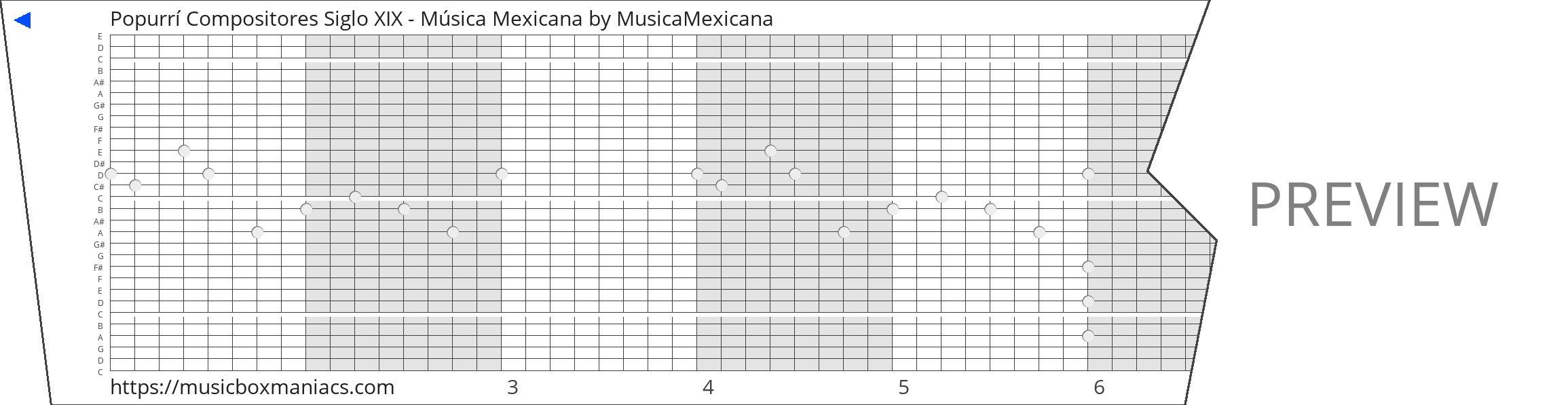 Popurrí Compositores Siglo XIX - Música Mexicana 30 note music box paper strip
